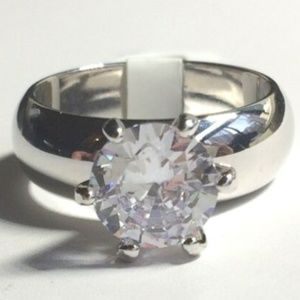 Silver Solitaire Engagement Ring Size 12 CZ